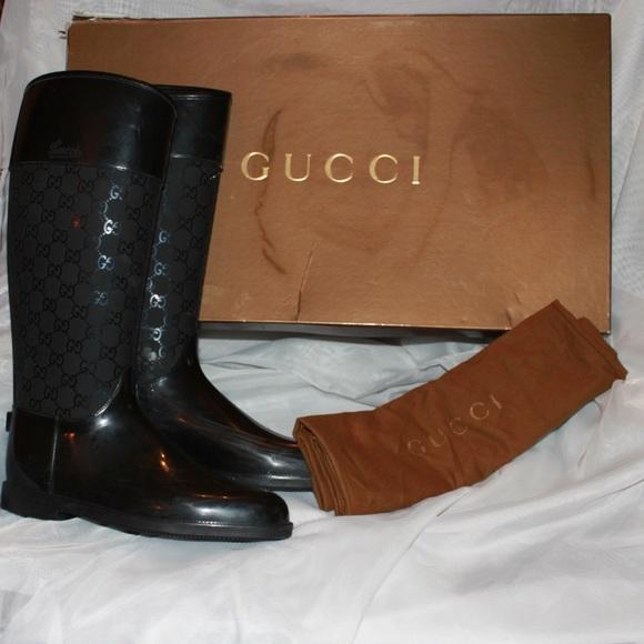 """Authentic GUCCI """"Guccissima"""" Gg Logo Boots Black"""